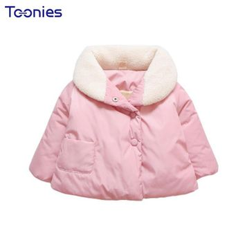 Lovely 2018 Winter Baby Girls Coats Warm Infants Girl Outerwear Thickening Toddler Coat Single Breasted Child Trench Down Jacket
