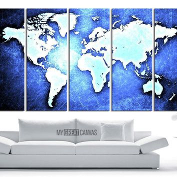 Large Wall Art Canvas WORLD MAP on Metal Iron Background Print - World Map 5 Piece Canvas Art Print - Ready to Hang - 5 Color World Map - MC244