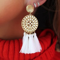 Tell Me Secrets Earrings: Gold/Ivory