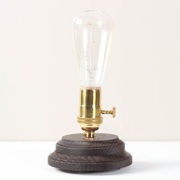 Pedestal Lamp Dark Walnut- Minimalist Table Lamp, Exposed Edison Bulb, Modern Desk Lamp