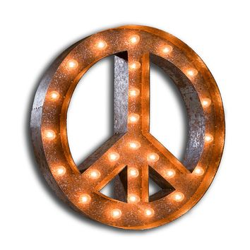 "48"" Peace Sign Vintage Marquee Sign with Lights (Rustic)"