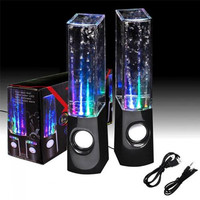 LED Light Dancing Water Speaker Creative Music Box USB for PC Laptop MP3 MP4 Cell Phone Black - Default