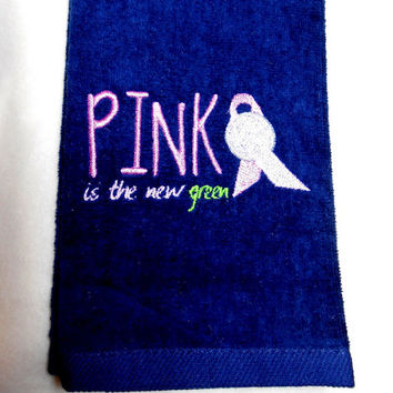 Golf Towel, Embroidered Golf, Pink Ribbon, Breast Cancer, Golf Gift for Her,Golfer Gift, Premium Golf Towel, Tri-Fold Golf Towel,Custom Golf