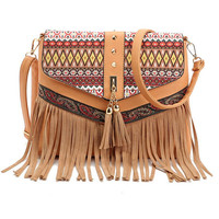 Fashion Women Lady Fringe Weave Tassel Shoulder Messenger Cross Body Satchel Bag Sac A Main Bag