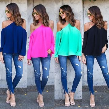 Women Loose Long Sleeve Casual Sexy Sling Hanging Neck Strapless Shirt