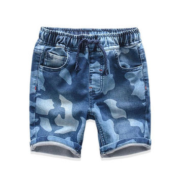 Summer Children Boys Denim Shorts Casual Kids Clothes Blue Printed Jeans Pants For Boy Camouflage Baby Boys Denim Shorts 2-8 Yrs