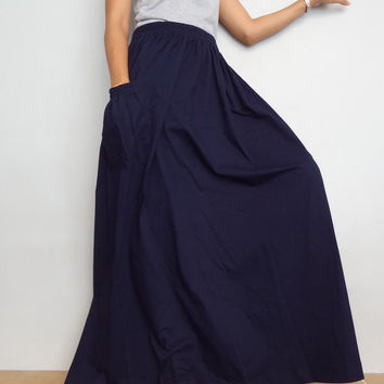 Women Maxi Long Skirt , Casual Gypsy, Bohemian , Cotton Blend In Navy Blue (Skirt *M14).