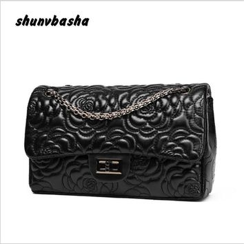 Fashion designer  brand handbag High quality ladies shoulder bag Retro chain camellia women Messenger bag free delivery