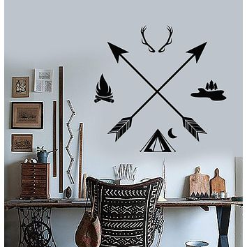 Vinyl Wall Decal Hunting Club Hunter Camping Arrows Ethnic Style Stickers (2765ig)
