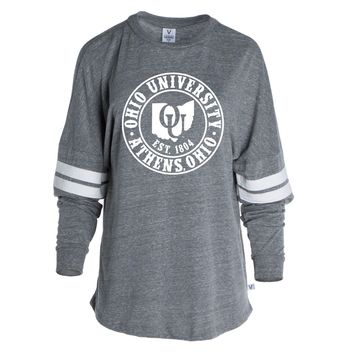 Official NCAA Ohio University Bobcats STAND UP AND CHEER! Women's Long Sleeve Tri- Blend Football Tee