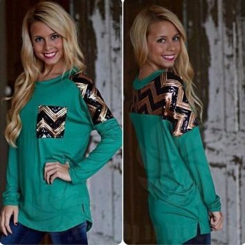 Green Sequins Long-Sleeve Shirt With Pocket