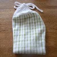 Lovely Lime Plaid Hanging Cotton Dish Towel With Hand Knit Topper and Ties