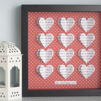 Personalised Heart Frame - 3D Hearts - Wedding Anniversary Gift - Song Lyric Poem Word Art