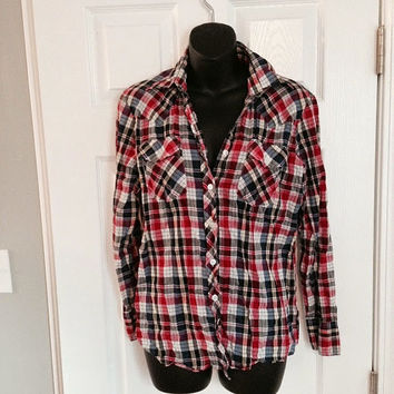 vintage long sleeve plaid button-up shirt