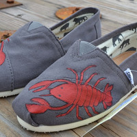 Hand painted Toms Shoes - Red Lobster Painted Shoes - Made to Order