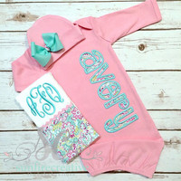 Daddy's Girl Coming Home Outfit Baby Gown Bow