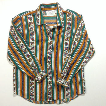 Vintage flower and stripes blouse by Erika