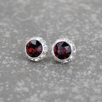 Bordeaux Burgundy Red Diamond Rhinestone Stud Earrings Swarovski Crystal Ox Blood Red Diamond Post Dangle Earrings Mashugana