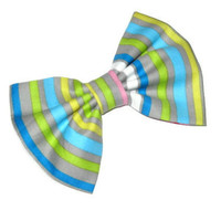 Fabric hair bow, womens striped bows, girls trendy preppy hair clip,  babyblue, yellow, pink stripes,