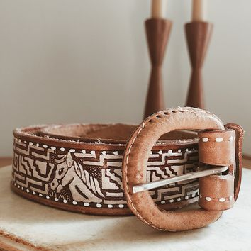 Vintage Tooled Leather Horse Belt