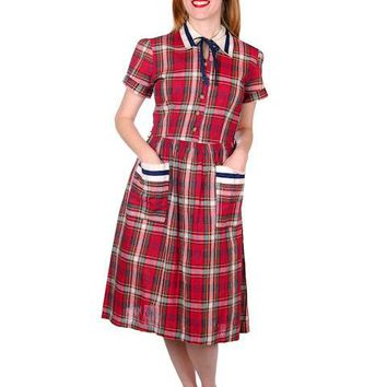 Vintage Dress Shirtdress Cotton Red/Navy Plaid 1940s Penneys 36-30-49