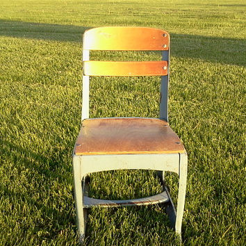 SALE Vintage Metal & Wood Small Kindergarten School Chair