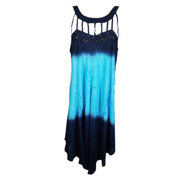 Mogul Summer Cocktail Sleeveless Rayon Stylish Dress Floral Embroidered Blue Flared Boho Chic Sundress - Walmart.com