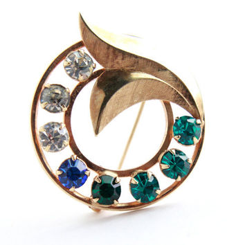 Colorful Rhinestone Brooch - Retro 12K Gold Filled Costume Jewelry Pin /  Green, Blue, White Stone Wreath