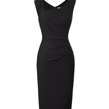 Belle Poque Retro Vintage Dress Fitness Sleeveless Women Office Dress Hips-Wrapped Back Split Business Bodycon Pencil Dress