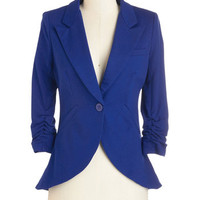 ModCloth Scholastic Mid-length 3 Fine and Sandy Blazer in Royal Blue