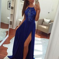 Red/Royal Blue Chiffon Lace Prom Dress with Slit