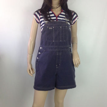 GAP Shortalls Vintage Romper Overall Shorts Faded Blue Cotton Festival Hippie Boho Carpenter Pants Pveralls s small