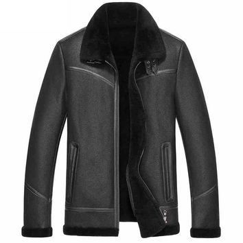 New Black SheepSkin Winter Leather Jackets For Men Turn Down Collar Wool Lining Sheepskin Coat Shearling