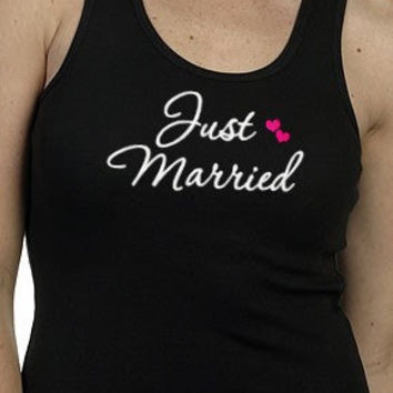 Just Married Tank Top Embroidered New Bride Wedding Newlywed Honeymoon Gift