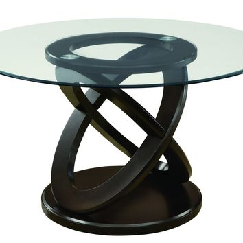 "Dark Espresso 48"" Round Tempered Glass Dining Table"