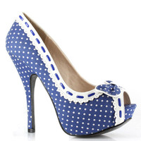 ELLIE Blue & White Polka Dot Gwendolyn Peep Toe Heels - Unique Vintage - Cocktail, Pinup, Holiday & Prom Dresses.