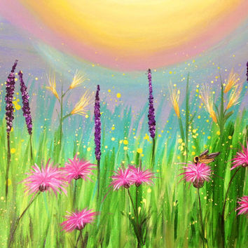 Field or Meadow of Summer Wildflowers and a bumblebee painting. 22x28 Original impressionist canvas wall art. Vivid, Original  by JP Morris.
