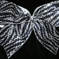 Black and white zebra print sequin bow texas by SpiritCheerBows211