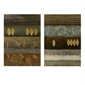2 Wall Art Canvases - Gold Leaf