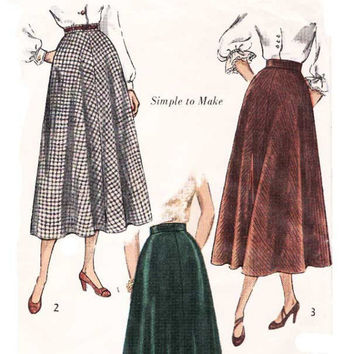 Vintage 1940s A-Line Swing Skirt Sewing Pattern 2 Length Uncut