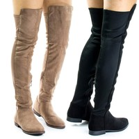 Willy2 By Liliana, Faux Fur Lined Over Knee Flat Boots w Elastic Back Panel