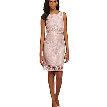 Taylor Lace Shantung Pop-Over Sheath Dress - Blush