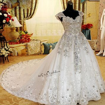 Rhinestones Luxury Wedding Dresses 2018 Sparky Ball Gown Crystals Wedding Gowns Cap Sleeve Sequins Lace Bride Dress Custom Made