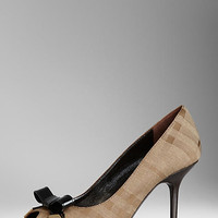 Bow Detail Check Jacquard Peep-Toe Pumps