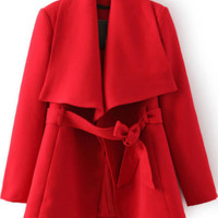 Lapel Self-tie Red Coat