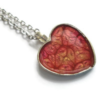 Red and Gold Heart Pendant necklace in antiqued silver tone heart, valentines day jewelry
