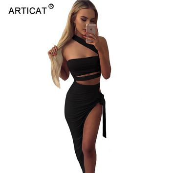 SIBYBO Bandage Strapless Party Dresses Women Off Shoulder High Cut Split Two Piece Summer Dress Sexy Cropped Club Dress Vestidos