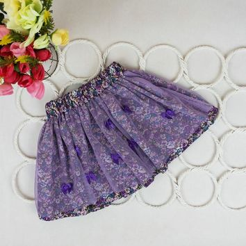 Baby Kids Girls Bowknot Floral Pompon Layered Skirt Floral Tulle Tutu Skirts