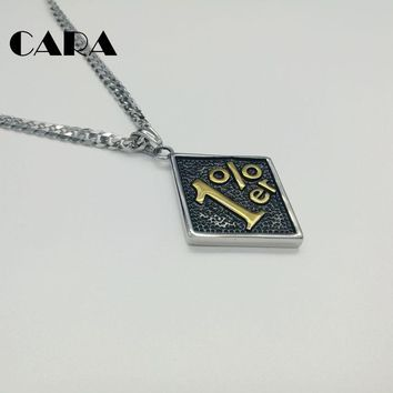 CARA New well polished 316L stainless steel 1%er Pendant Necklace Men's Biker Jewelry Stainless Steel Biker Necklace CARA0150