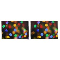 Multicolored Christmas lights. Pillow Case
